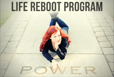 life reboot program, woman laying on sidewalk with power word
